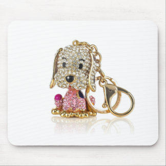 Cute Dog Diamond And Gold Key Ring Mouse Pad