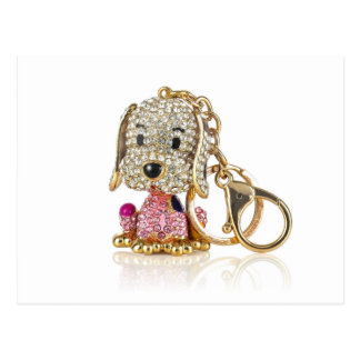 Cute Dog Diamond And Gold Key Ring Postcard