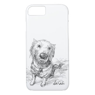 Cute Dog Drawing Black White Scribble Name iPhone 7 Case