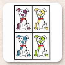 Cute Dog Drawing - Bully Breed Beverage Coaster
