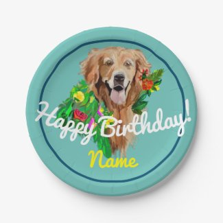 Cute Dog Dreamy Golden Retriever Paper Plate