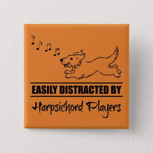 Cute Dog Easily Distracted by Harpsichord Players Music Notes 2-inch Square Button