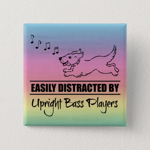 Running Dog Easily Distracted by Upright Bass Players Music Notes Rainbow 2-inch Square Button