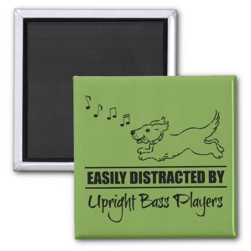Running Dog Easily Distracted by Upright Bass Players Music Notes 2-inch Square Magnet