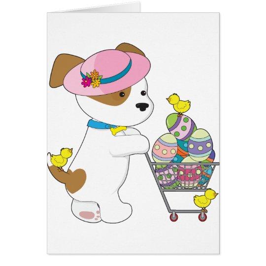 Cute Dog Easter Eggs Card