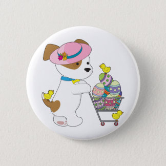 Cute Dog Easter Eggs Pinback Button