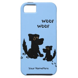 Cute Dog Family Blue Personal iPhone 5 Case