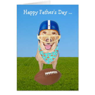 Cute Dog Father's Day for Football Player/Fan Card