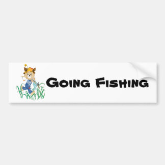 Cute Dog Going Fishing Bumper Sticker