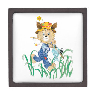 Cute Dog Going Fishing Gift Box