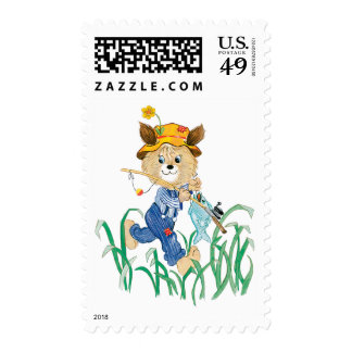 Cute Dog Going Fishing Postage