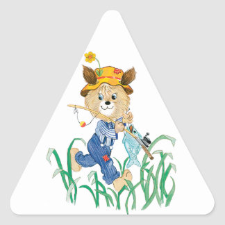 Cute Dog Going Fishing Triangle Sticker