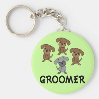 Cute Dog Groomer Occupation Gift Basic Round Button Keychain