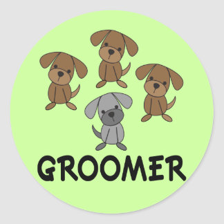 Cute Dog Groomer Occupation Gift Classic Round Sticker