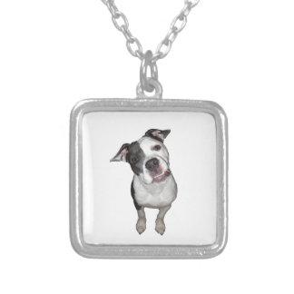 Cute dog head tilt square pendant necklace