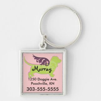 Cute Dog ID Tags Silver-Colored Square Keychain