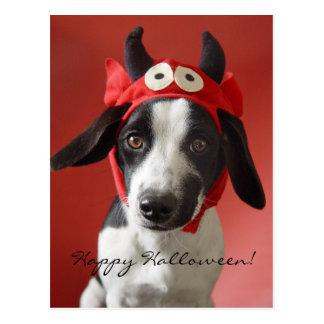 Cute Dog in Devil Costume, Happy Halloween Postcard