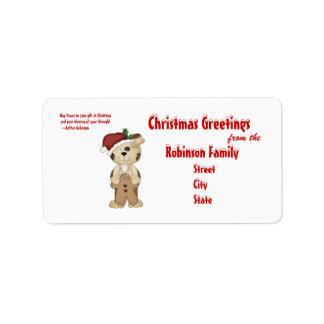 Cute Dog in Santa Hat, Christmas Greetings +Quote Label
