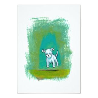 Cute dog little white puppy floating fun happy art card