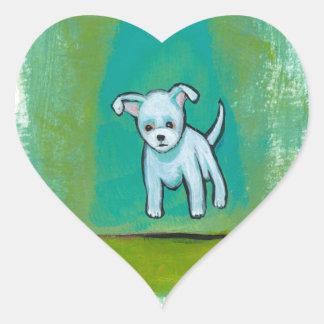 Cute dog little white puppy floating fun happy art heart sticker