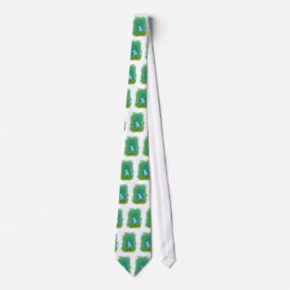 Cute dog little white puppy floating fun happy art neck tie