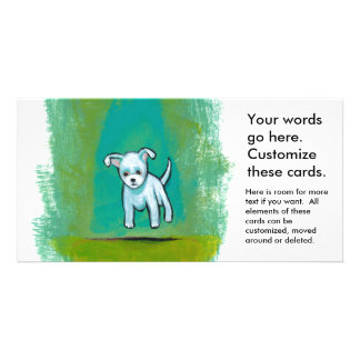 Cute dog little white puppy floating fun happy art photo cards