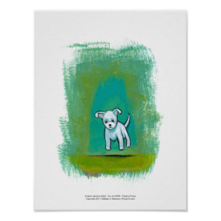 Cute dog little white puppy floating fun happy art poster