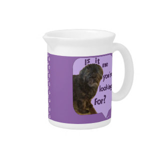 Cute Dog looking for You Beverage Pitcher