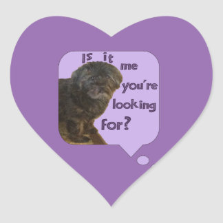 Cute Dog looking for You Heart Sticker