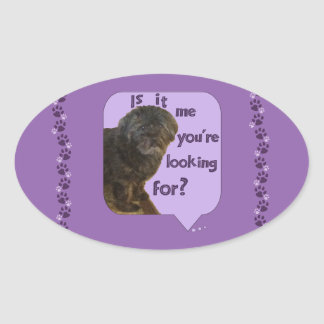 Cute Dog looking for You Oval Sticker