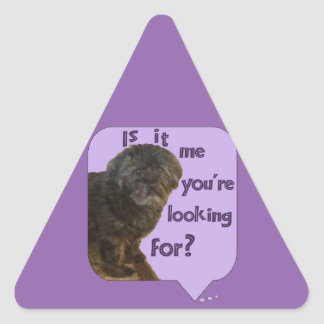 Cute Dog looking for You Triangle Sticker