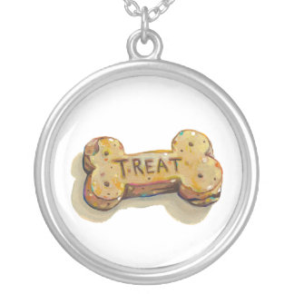 Cute dog lover art fun painting dogs treat biscuit round pendant necklace