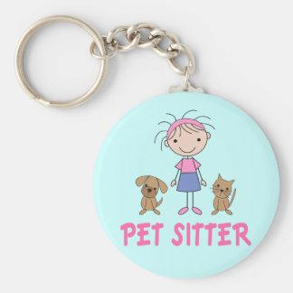 Cute Dog Occupation Pet Sitter Basic Round Button Keychain