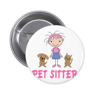Cute Dog Occupation Pet Sitter Button