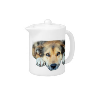 Cute dog on any color background teapot