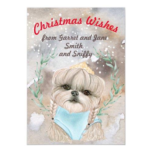Cute dog on snowy Christmas watercolor custom Invitation