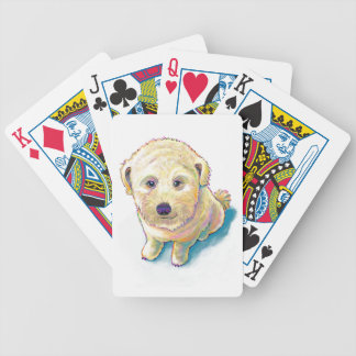 Cute dog painting whoodle wheaten mutt beige puppy bicycle playing cards