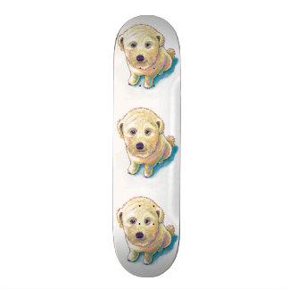Cute dog painting whoodle wheaten mutt beige puppy skateboard