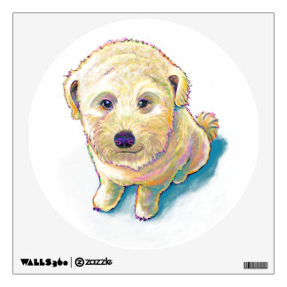 Cute dog painting whoodle wheaten mutt beige puppy wall sticker