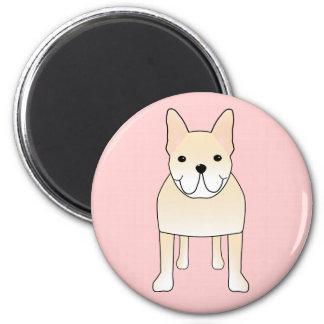 Cute Dog. Pale Cream French Bulldog. 2 Inch Round Magnet