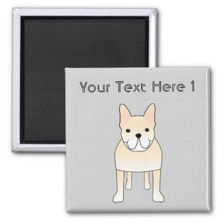 Cute Dog. Pale Cream French Bulldog. 2 Inch Square Magnet