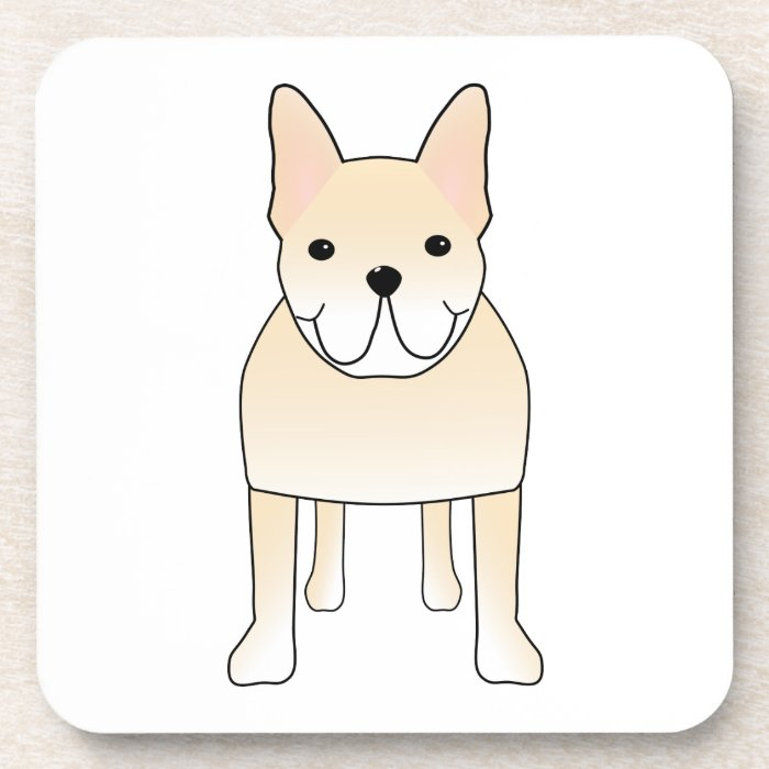 Cute Dog. Pale Cream French Bulldog. Beverage Coaster