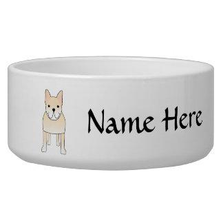 Cute Dog. Pale Cream French Bulldog. Bowl