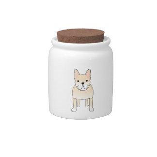 Cute Dog. Pale Cream French Bulldog. Candy Jars