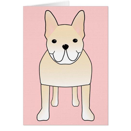 Cute Dog. Pale Cream French Bulldog. Card