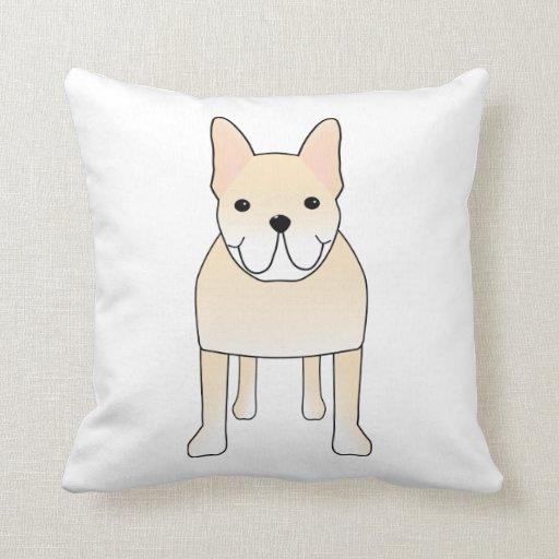 Cute Dog. Pale Cream French Bulldog. Pillow