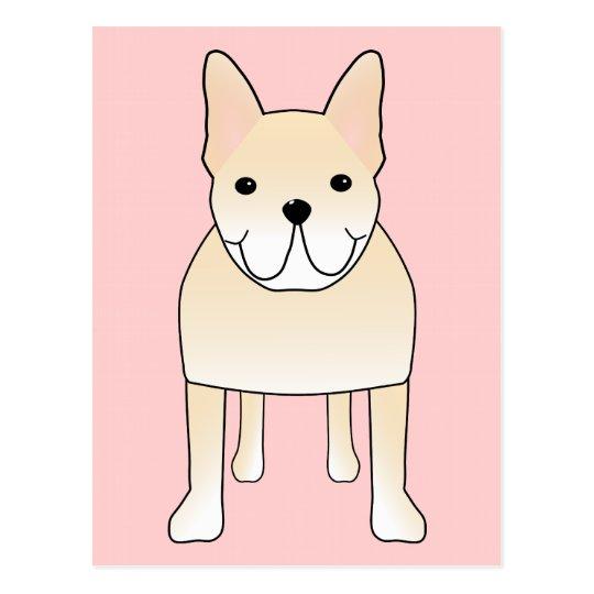 Cute Dog. Pale Cream French Bulldog. Postcard