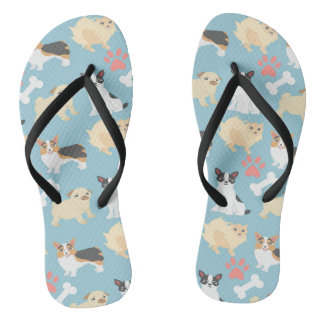 Cute Dog Pattern Flip Flops