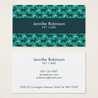 Cute Dog Pattern with Bone on Green Background Business Card