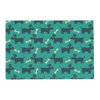 Cute Dog Pattern with Floppy Ears & Bone Placemat